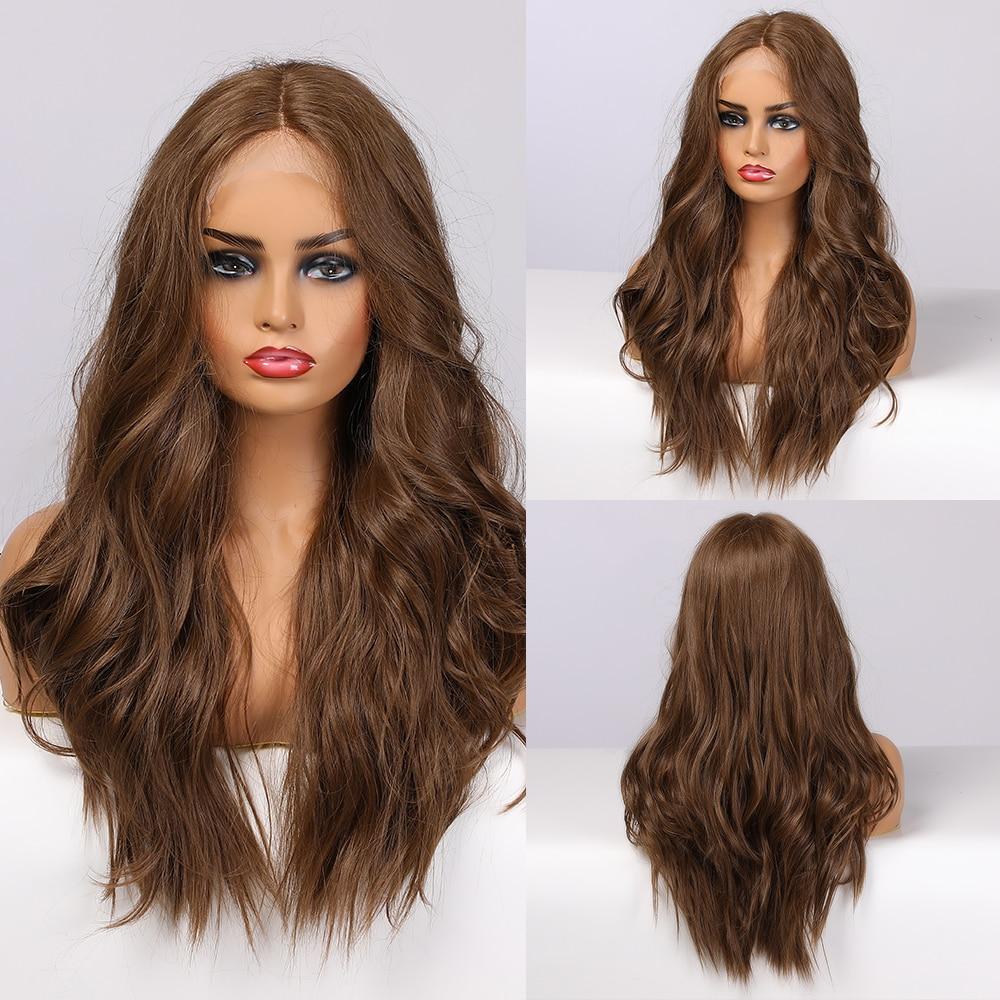 Pelucas sintéticas delanteras de encaje ALAN EATON, pelucas de encaje largo ondulado de media parte, pelucas de Cosplay de miel marrón de densidad 150% para mujeres negras Afro