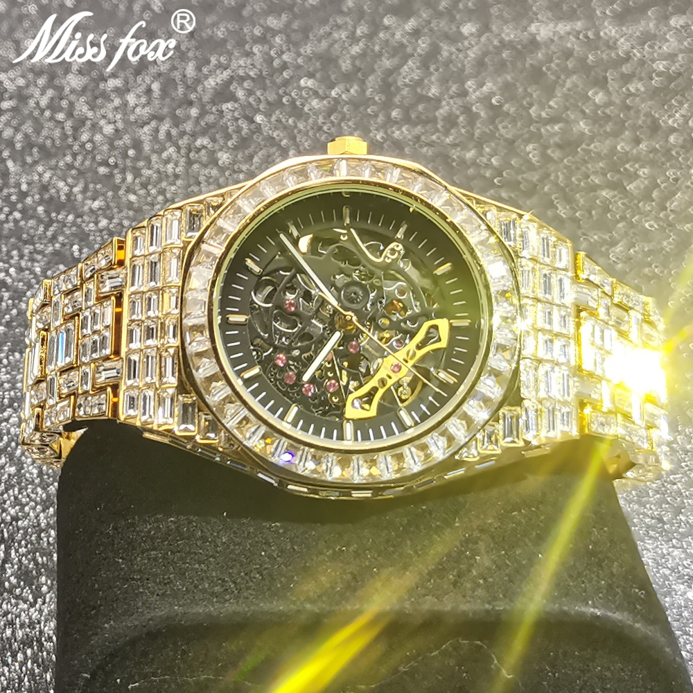 MISSFOX Hollow Mechanical Automatic Man Wristwatches AAA Gold Square Diamond Iced Out Gentleman Luxury High-end Business Clocks