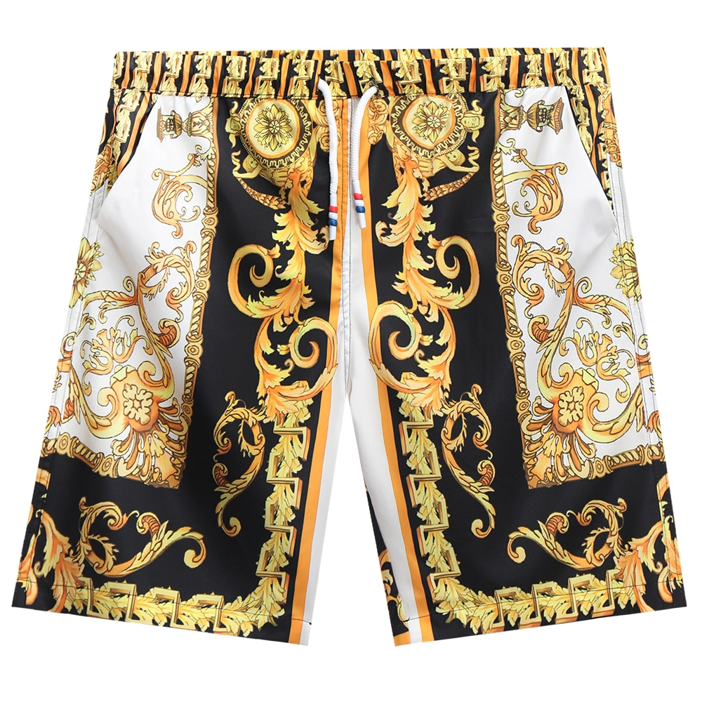 2021 New Summer High Quality Mens Print Strappy Loose  Knee Length Street Men Casual Shorts