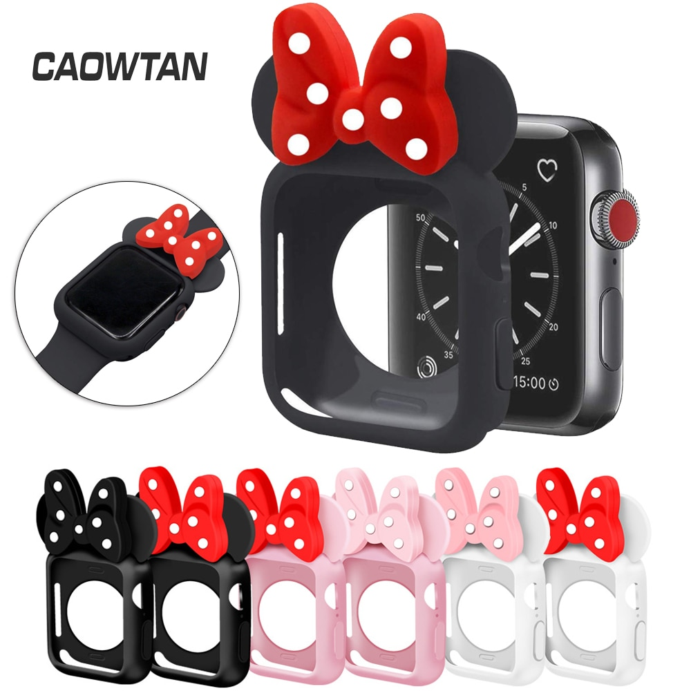 cartoon style protective frame bumper anti scratch case for iwatch 5 4 3 2 1 tpu cover full case for apple watch 44 40 42 38mm Silicone Cover Case For Apple 5 4 3 2 1 Series 5 4 3 2 Watch Band 42 38mm for iWatch  Women Men Soft TPU Frame Protective Shell