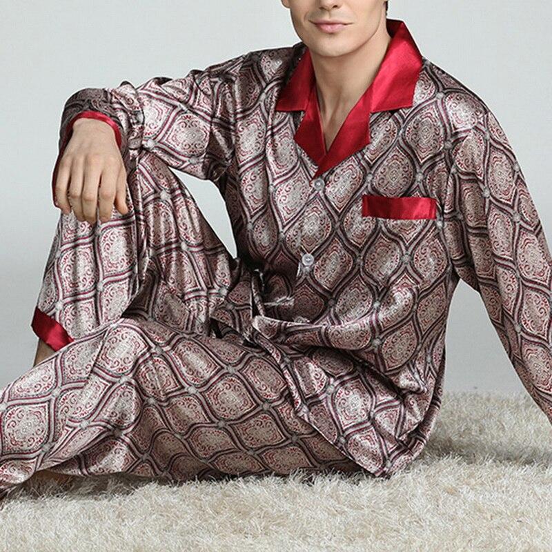 Puimentiua мужские пятна шелк пижамы комплекты пижамы мужские пижамы модерн стиль шелк ночная рубашка дом мужской атлас мягкий уютный сон