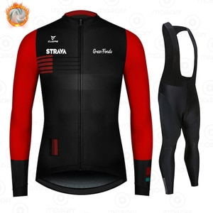 2021 STRAVA Winter Fleece Pro Cycling Jersey Set Mountian Bicycle Clothes Wear Ropa Ciclismo Racing Bike Clothing Cycling Suits