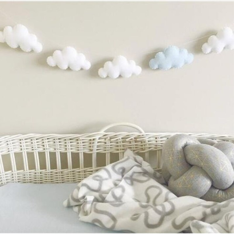 nordic handmade baby room nursery star garlands christmas kids room wall decorations photography props best gifts Nordic Wall Hanging Ornaments Nursery Decor Felt Cloud Garlands String Baby Kids Room Decoration Party Banner Photo Props