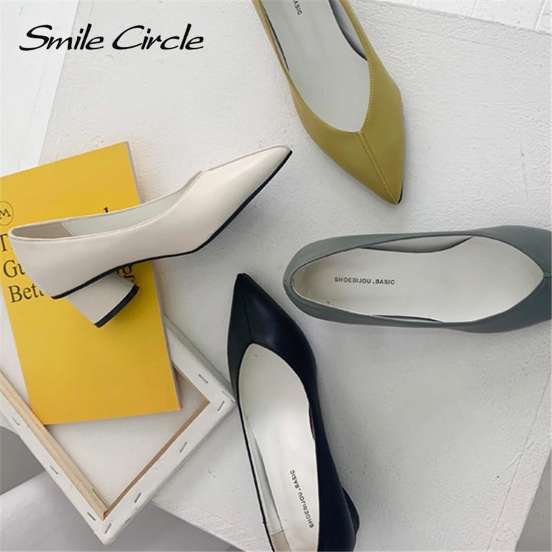 Smile Circle Slip-On High heel Women shoes Fashion Asakuchi Pointed toe mature Thick bottom Ladies Shoes Spring