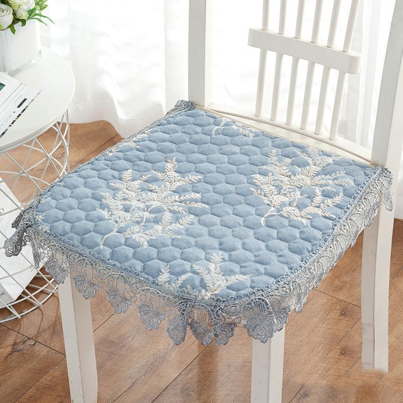 Подушка хлопковая для стула, удобный коврик для офисного стула, подушка для сиденья на стул с кружевными краями, домашняя универсальная подушка для спины, 16 цветов