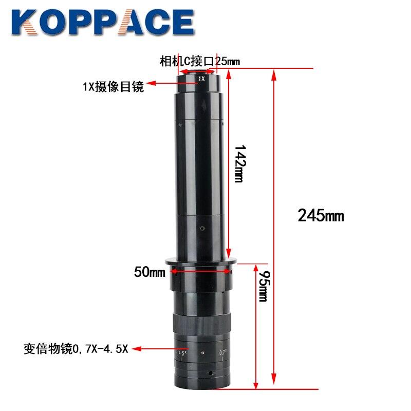 KOPPACE-عدسة مجهر صناعية أحادية العدسة ، عدسة تكبير 0.7X-4.5X ، 25 مللي متر ، C-Mount ، تكبير مستمر