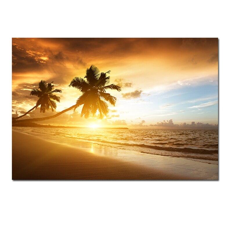 Постеры на холсте с изображением Морского Пейзажа, настенное искусство, Тропическое дерево, закат, пейзаж, печать, украшение для гостиной, к...