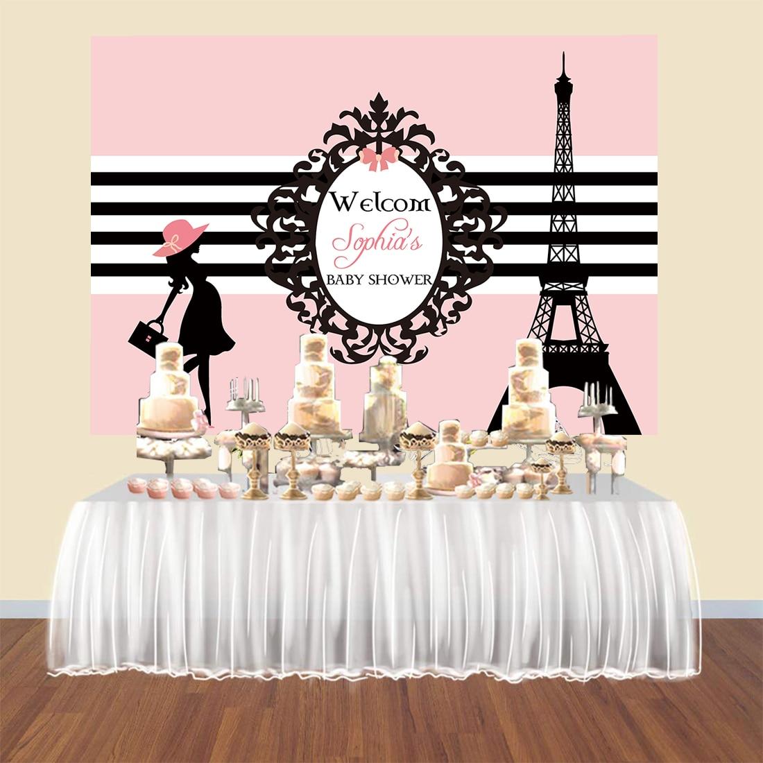 Parisino París temática fiesta baby shower telón de fondo Torre Eiffel Rosa Fondo banner cartel coustom candy Mesa postre vinilo
