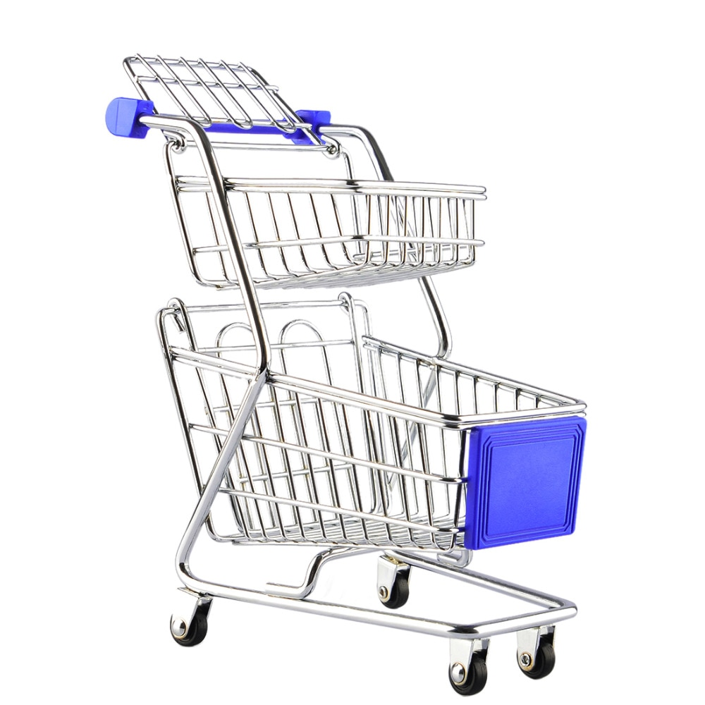 mini Supermarket Handcart Wheel Shopping Carts Toys Creative Double-deck Folding Cart Basket for Children Boys