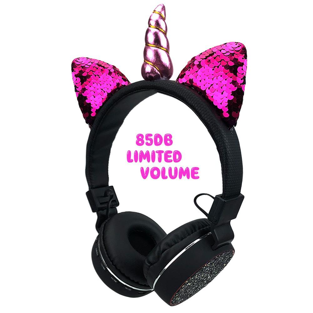 Niños auriculares inalámbricos Bluetooth unicornios auriculares estéreo música estirable Oreja de Gato de dibujos animados para niños adultos regalos