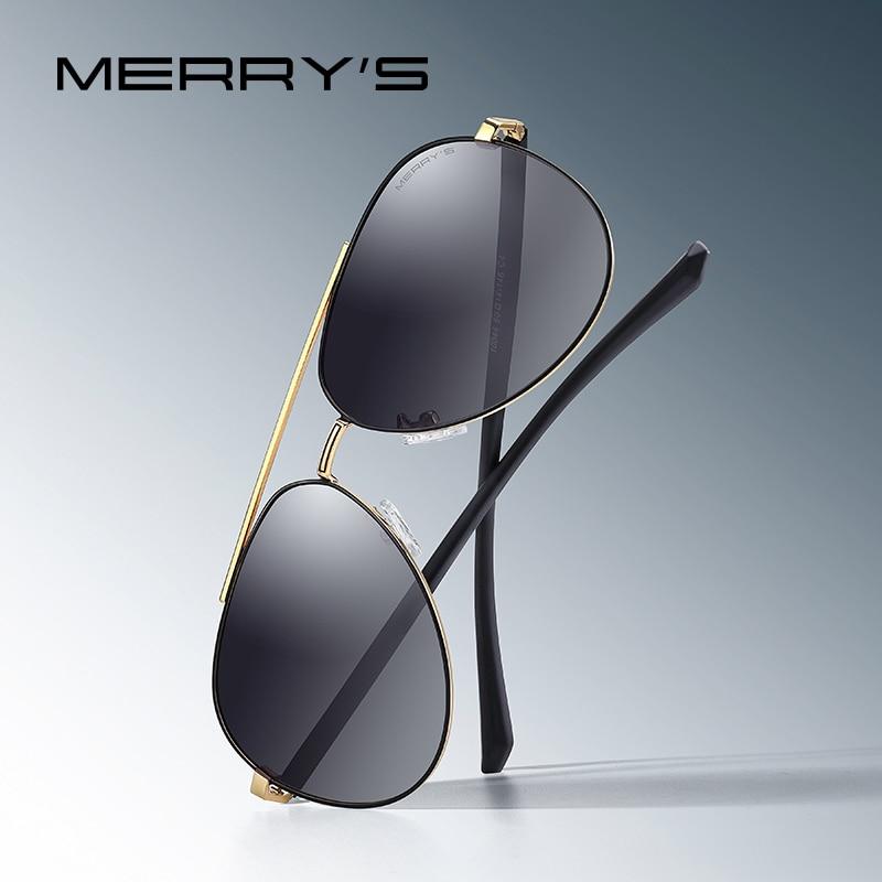 MERRYS diseño hombres clásico piloto gafas de sol lente polarizado HD hombres gafas para conducir, para pescar UV400 protección S8144