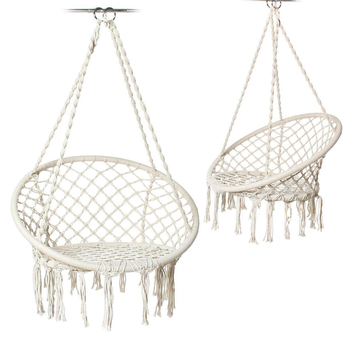 Подвесное кресло-гамак, качели из хлопчатобумажной веревки, для спальни, балкона, крыльца