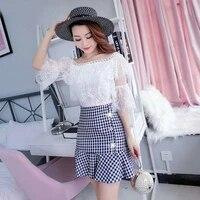 summer women floral lace short sleeve tassel mesh blouse topsplaid trumpet high waist mini skirt fashion two piece sets new