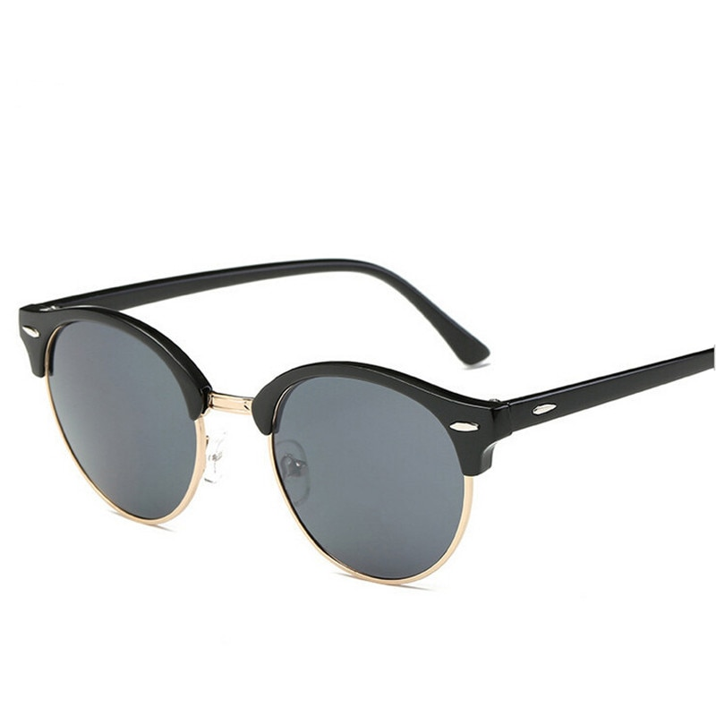 Popular Metal medio marco Vintage lentes de sol para dama hombres moda radiación protección UV400 mujeres gafas de sol hombres gafas