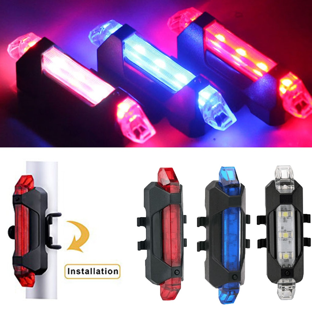 Lámpara LED trasera para bicicleta, resistente al agua, recargable vía USB, luz de seguridad, advertencia para ciclismo
