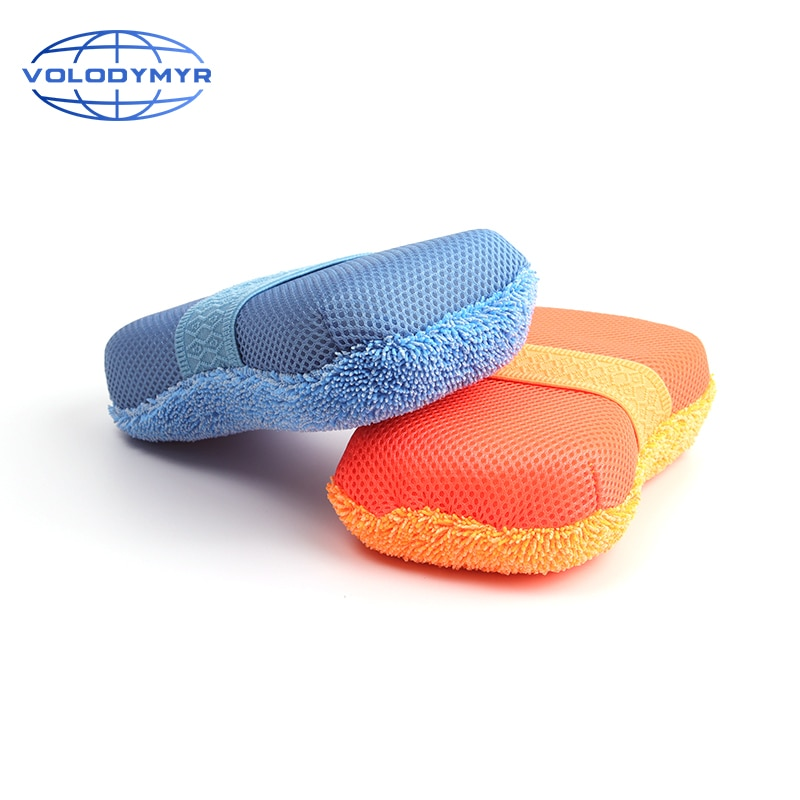 Car Wash Sponge Microfiber Pad Sponge Washing Tools Blue with Mesh Super Absorbent for Car Clean Cleaning Auto Detail Detailing