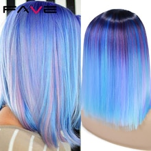 Fave Ombre Bob Synthetic Wig Rainbow Colorful Blue Wigs Straight Hair Middle Part Cosplay Wig Heat Resistant Fiber For Women
