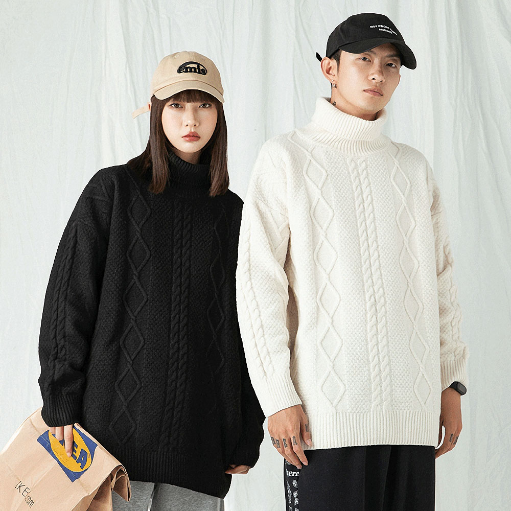Men's Turtleneck Sweater Casual Base Shirt Thick Knitted Warm Pullover Sweater Male Brand Inner Winter Women Clothes White Black