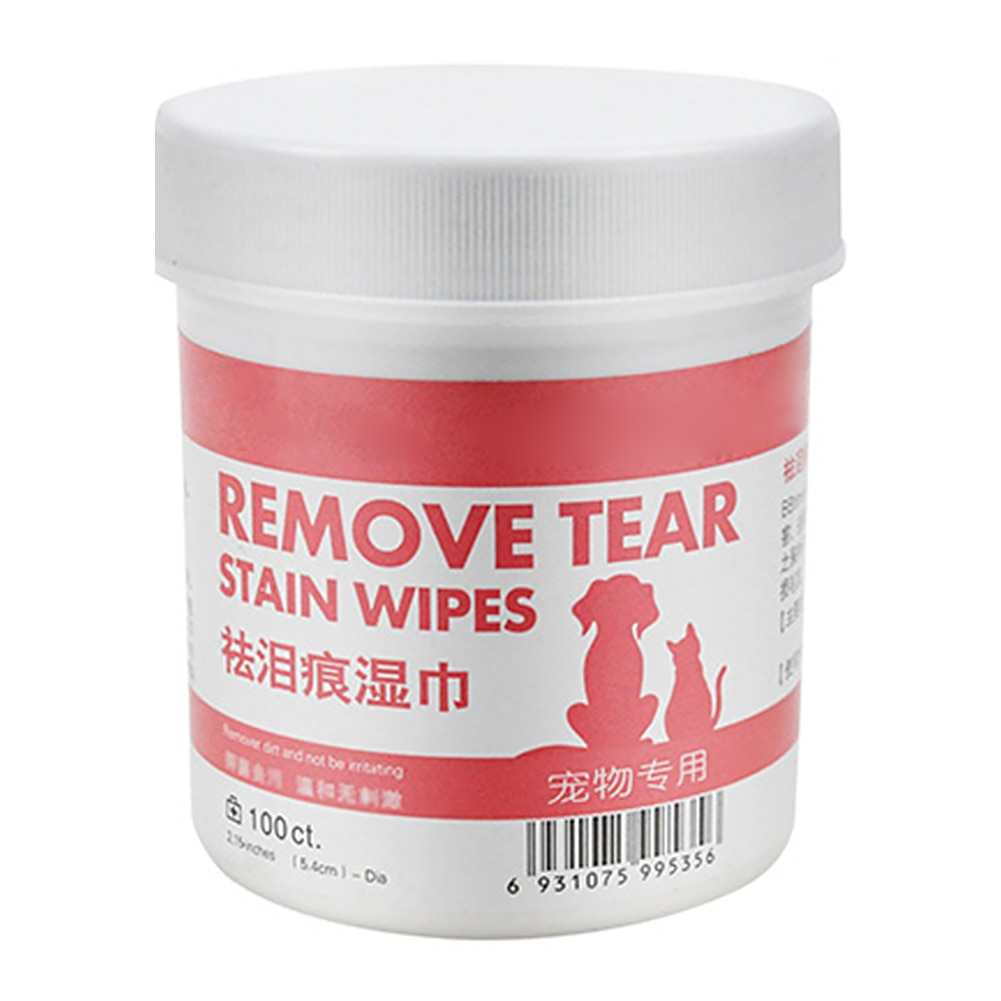 100 piezas de papel de aseo de mascotas toallitas suaves mojado Aloe perro removedor de manchas higiénico ojo limpieza lágrima gato toallas no tejida