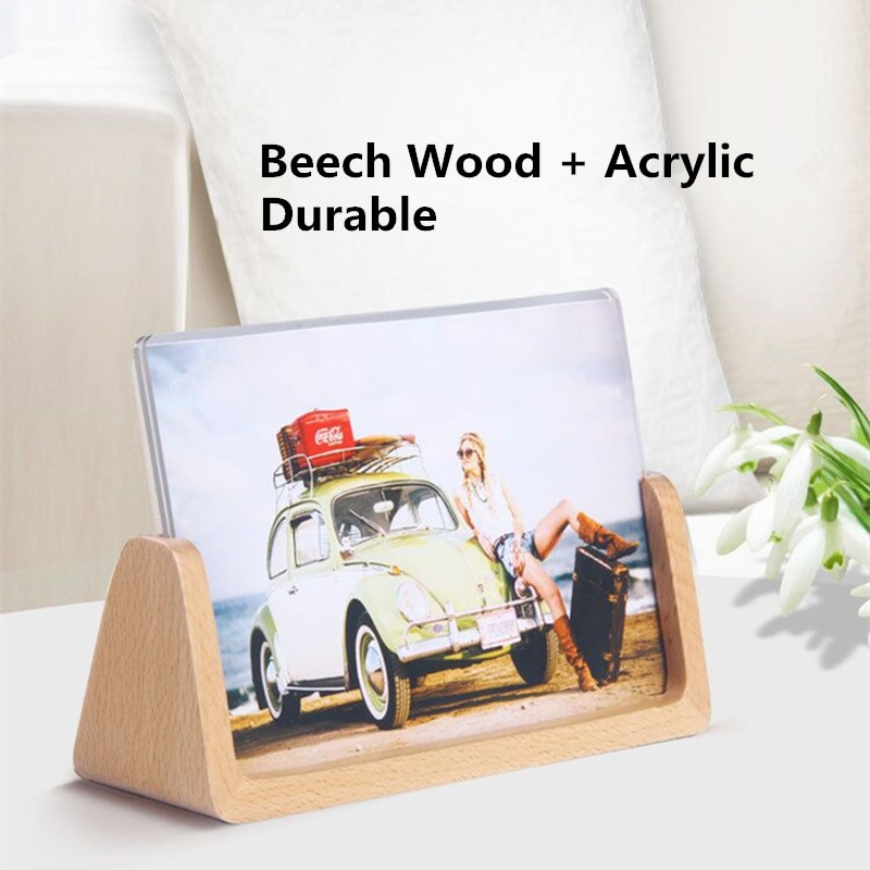 manual plastic turntable 20cm 8 inch rotating base acrylic transparent photo frame display stand three dimension accessories 8 Inch Wood Acrylic Card Holder Display Stands Table Number Photo Picture Poster Frame Menu Paper Holder Stand