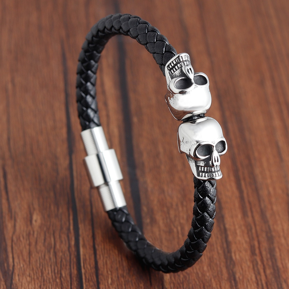 Stainless Steel Mens Bracelet Leather Retro Titanium Skull Men Bracelets 2019 Charm Snap Button Jewelry Evil Eye Trendy