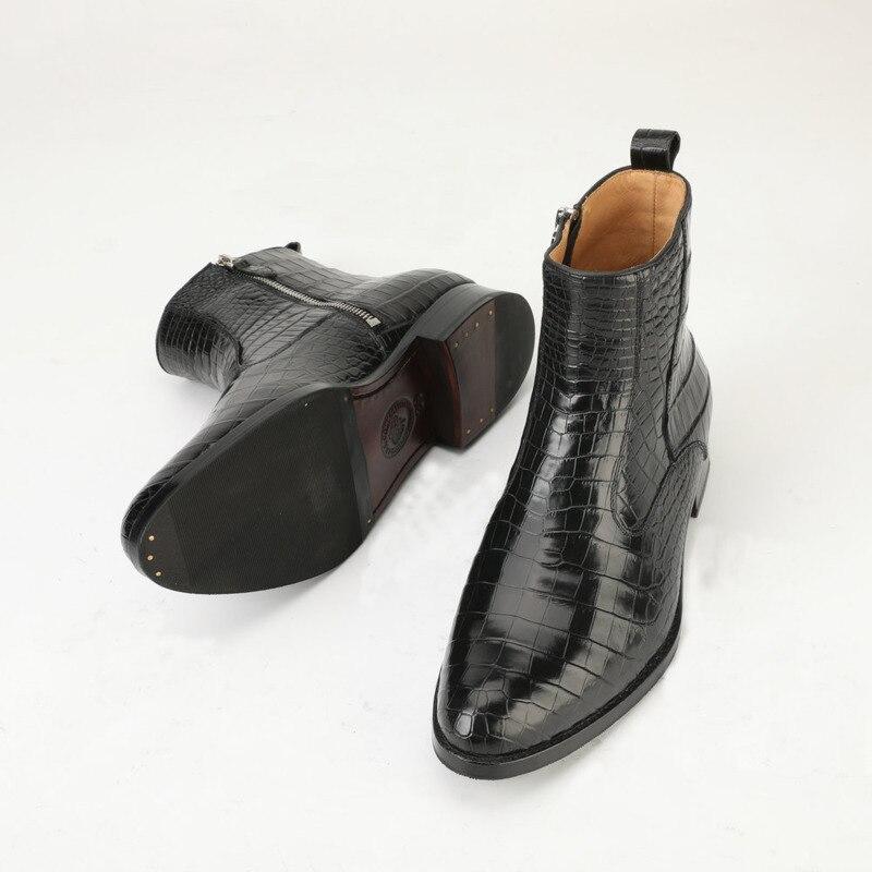 Мужские ботинки в британском стиле, из натуральной крокодиловой кожи, на осень и зиму