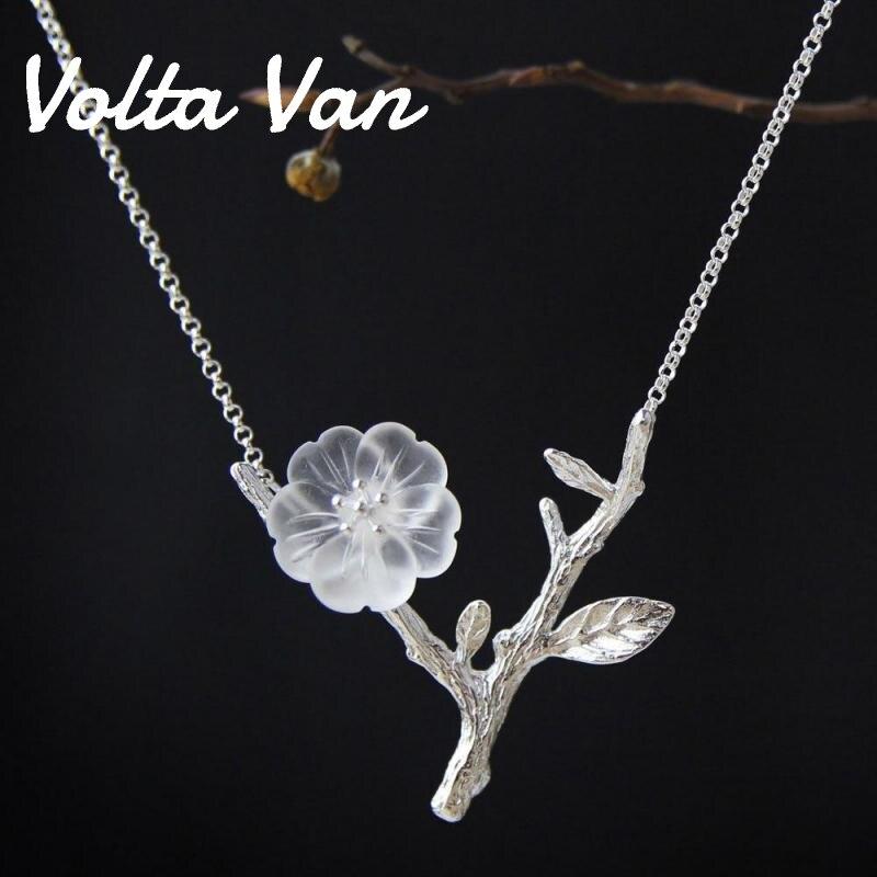 Volta Van-قلادة قلادة من الفضة الإسترليني عيار 925 مرصعة بالكريستال الطبيعي ، مجوهرات راقية بتصميم فروع وزهور ، 2021