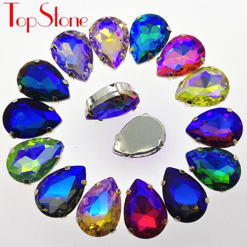 TopStone colores AB lágrima coser cuentas 10x14mm ~ 20x30mm vidrio gotita piedra de lujo con garras de plata configuración 4 agujeros