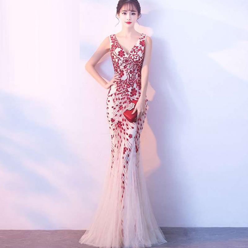 فستان سهرة طويل مزين بالترتر ، مشمش أحمر ، نمط جديد ، خرافية ، ذيل السمكة رفيع ، مأدبة ، مزاج نبيلة ، مثير