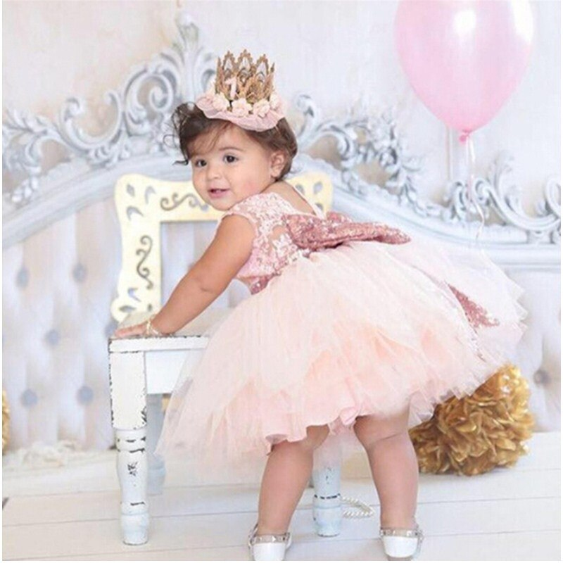Rosa vestido de princesa arco de oro vestido de bebé niña bautismo bautizo 1st fiesta de cumpleaños regalo recién nacido bebé Tutu vestido para niñas
