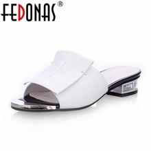 FEDONAS 2020 nouvelles femmes été de haute qualité carré talons hauts pompes en cuir véritable chaussures femme sandales bout ouvert dames pantoufles
