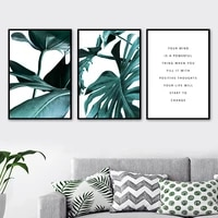modern green tropical plant monstera leaf wall art canvas painting nordic posters and prints wall pictures for living room decor
