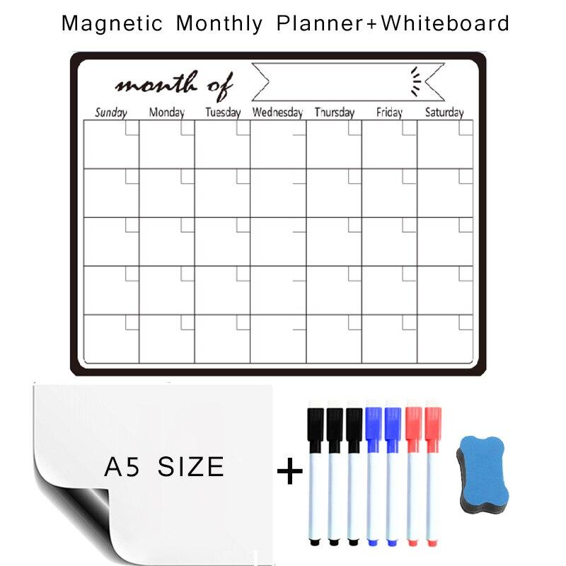 Магнитная доска для рисования, ластик для детей, еженедельный и ежемесячный планер, календарь, магнитные наклейки на стену холодильника, па...