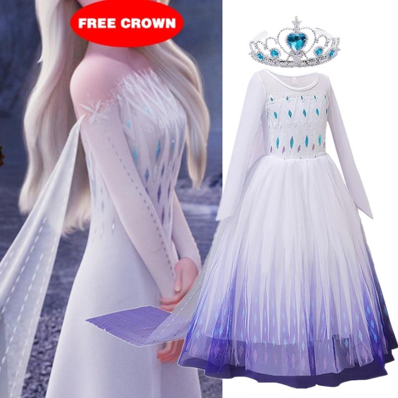 Snow Girls Dress Princess Costume Halloween Carnival Children Dress up Kids Dresses for Girls Clothi