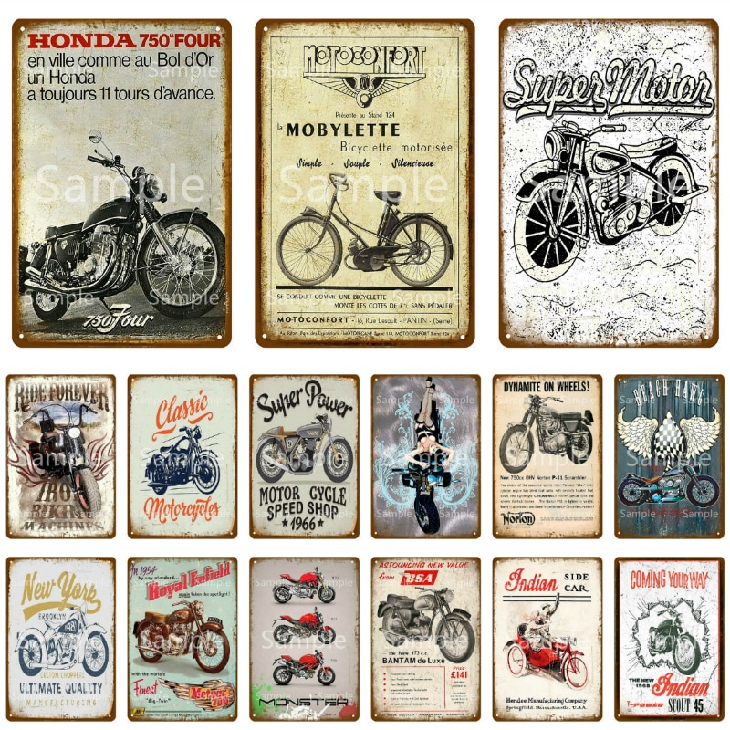 Retro Super Motor Metal Tin Signs Vintage Motorcycles Poster Motor Cycle Shop Plaque Pub Bar Garage Wall Decor 20x30cm YK144