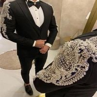 luxury custom made slim fit crystals beaded black men suits for wedding 3 pieces jacketvestpants groom wear blazers tuxedos