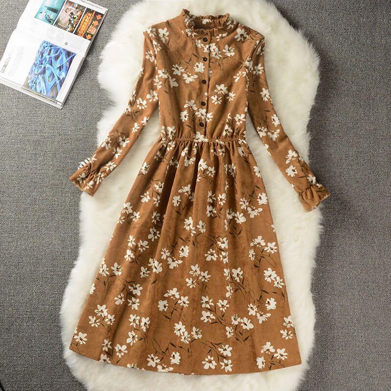 2019 wiosna jesień moda w połowie długości przytulna sukienka sztruksowa nadruk w stylu vintage sukienka Student słodka praca kobiet sukienka biurowa Plus rozmiar 117