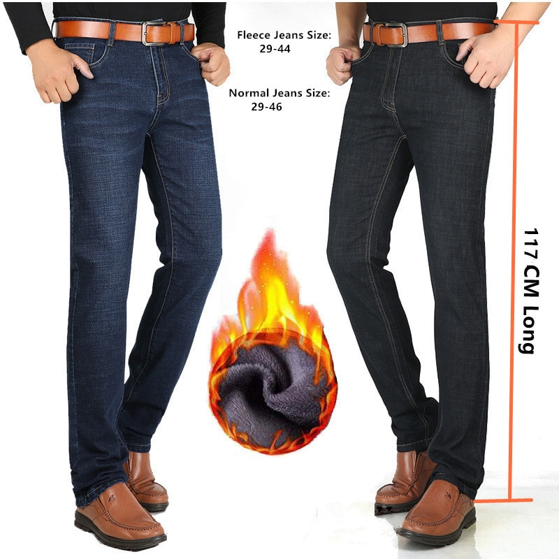 Große Männer Jeans 117CM Lange Jeans Gerade Slim Fit Schwarz Blau Hose Hohe Taille Fleece Winter Denim Plus Größe 40 42 44 46 hosen
