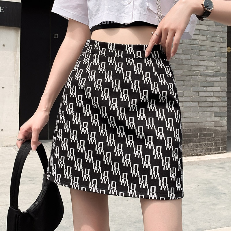 Women's Skirts for Spring And Summer 2021 New Mini Skirts Women's Skirts Slim High Waist Skirts Korean A-line Skirts Female Prin