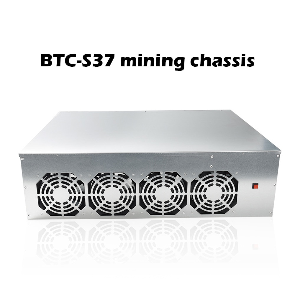 BTC-S37 Mining Chassis Combo 8 GPU Bitcoin Crypto Ethereum BTC Low Power Miner Motherboard with 4 Cooling Fans 8GB RAM mSATA SSD