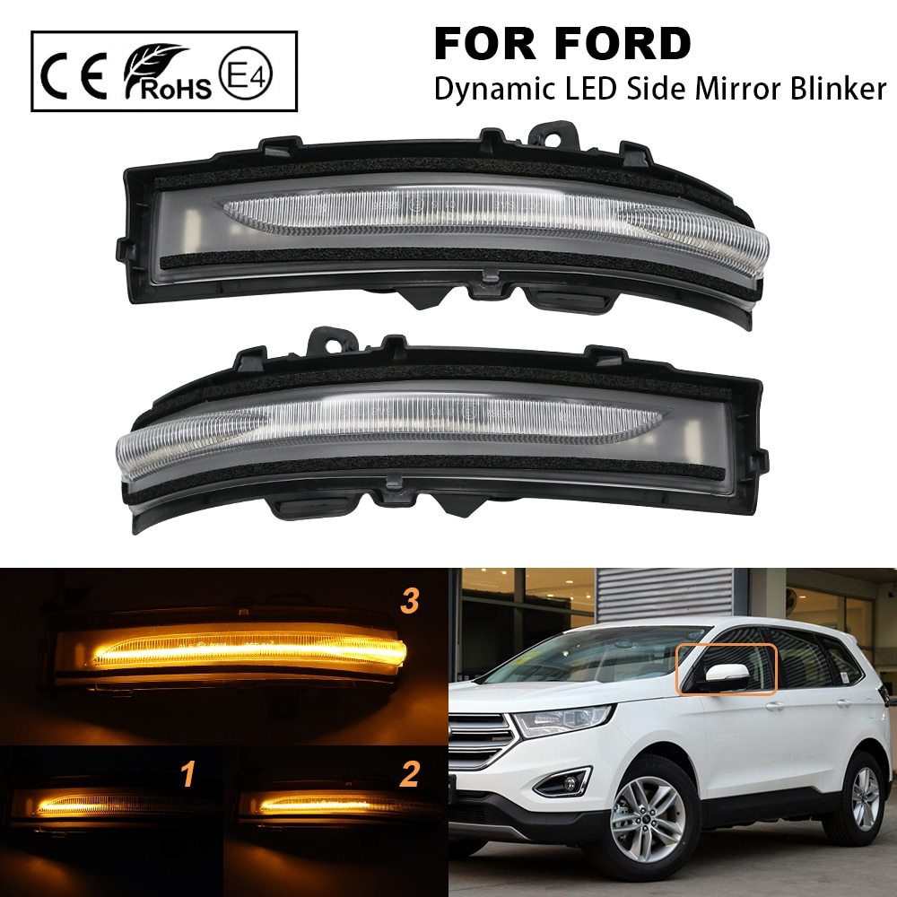 2Pcs Clear lens Car Dynamic LED Side Mirror Blinker Sequential Indicator mirror Lamp Turn Signal Lamp For Ford Edge 2015-2018