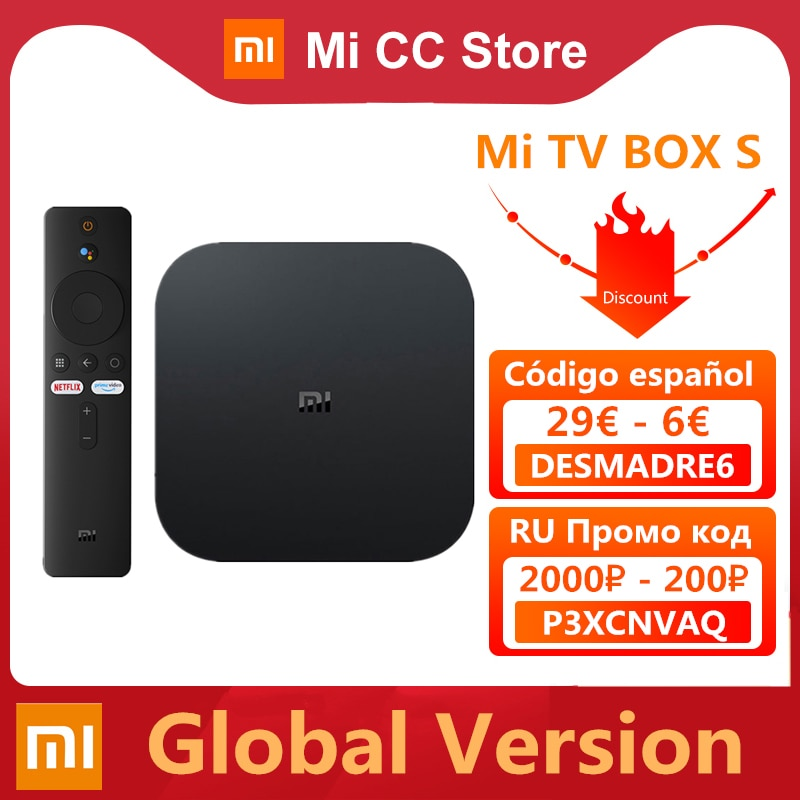 Global Version Xiaomi Mi TV Box S 4K Ultra HD Android TV 9.0 HDR 2GB 8GB WiFi Google Cast Netflix Smart Mi Box S Media Player