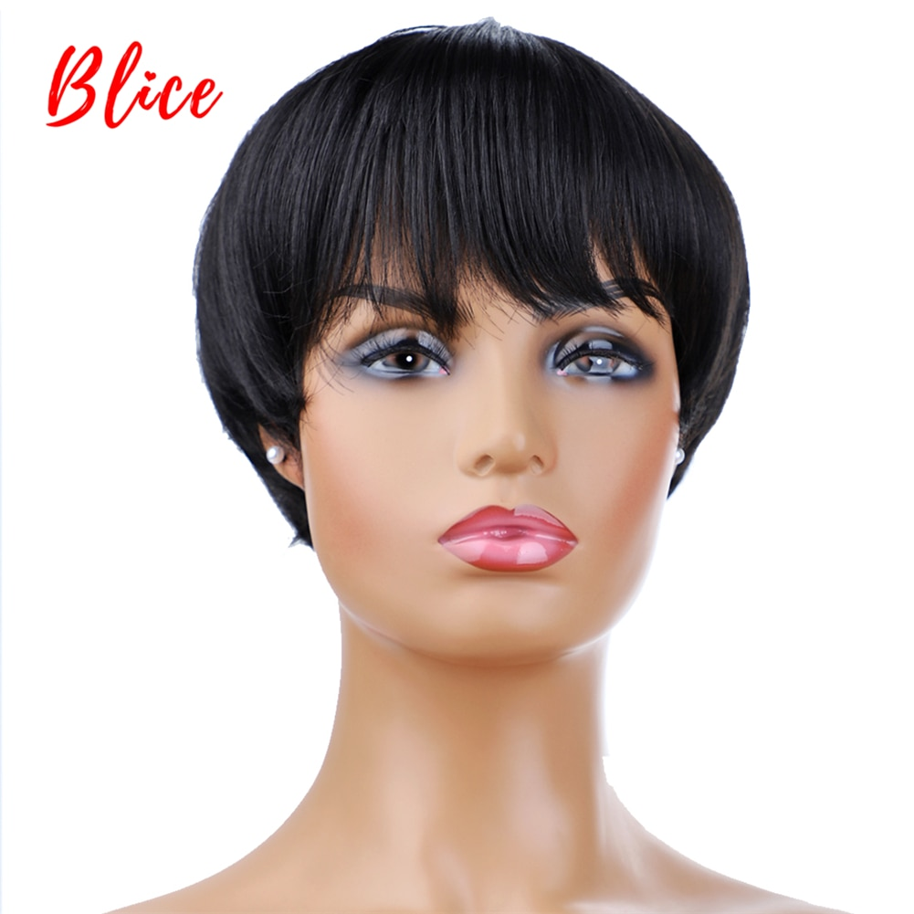 Blice For Women Short Synthetic Wig With Free Side Bang  Natural Black 1B# Bob Wig Heat Resistant Cosplay Party Yaki Straigt Wig fashion side bang short straight orange charming kousaka honoka cosplay wig with double chignons