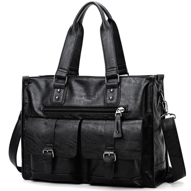 2021 New Casual Men's Briefcase Crossbody Retro Business Men's Bag Sac a main bag Business Large Capacity Handbags Black