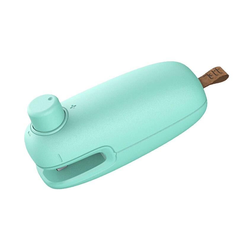 ABRA-Chip 2 en 1, Mini sellador al calor portátil de mano para bolsas de plástico, resellador de almacenamiento de alimentos con cerradura de seguridad, verde menta