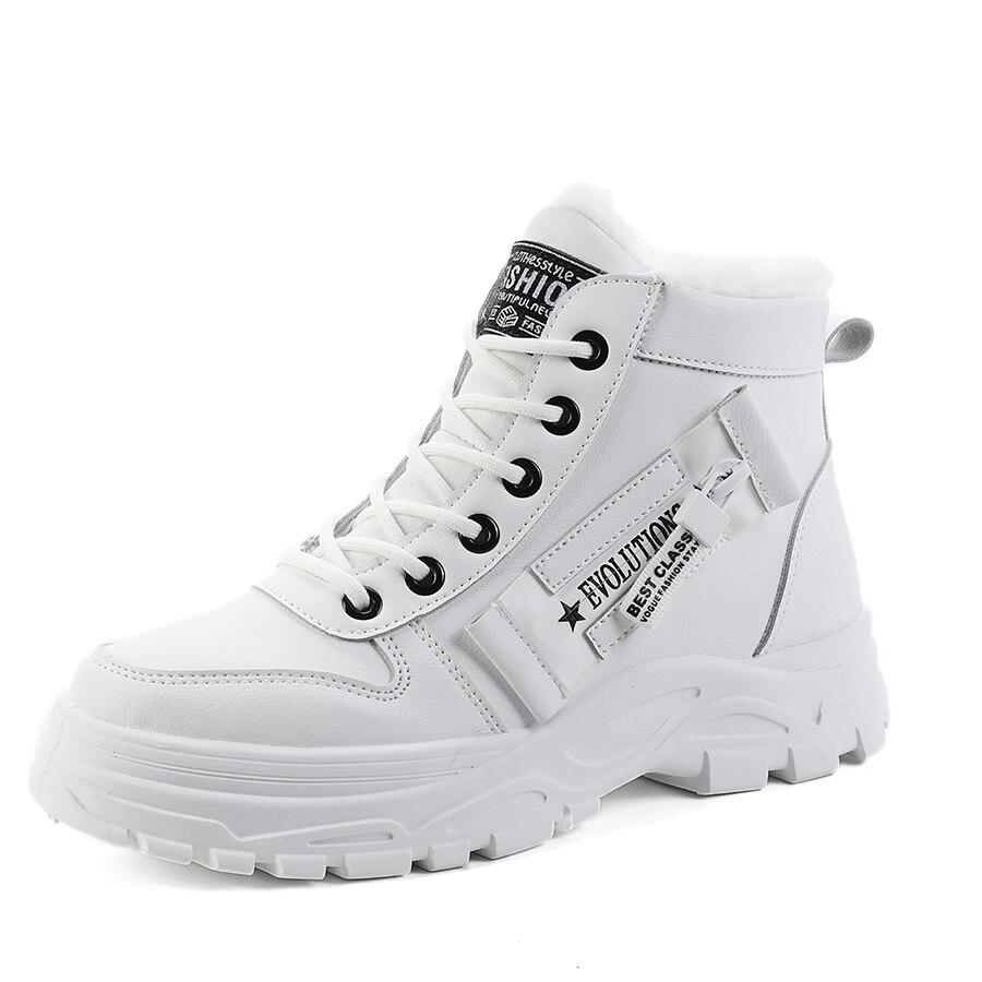 Zapatillas de deporte para mujer, zapatos de moda de cuero PU 2019, zapatos casuales para mujer, zapatos planos con plataforma, zapatos de felpa cálidos para mujer, zapatos de invierno transpirables