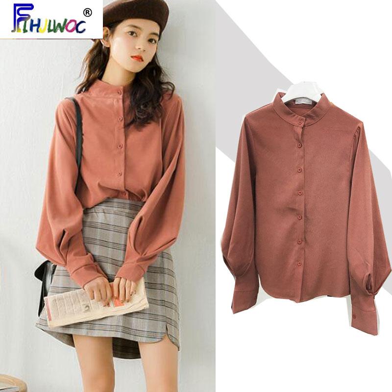 2020 primavera otoño camisas básicas blusas Mujer manga larga elegante estilo Preppy temperamento señora trabajo botón camisa blusas 1226