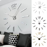 fashion antique mini diy mirror surface clock sticker mute wall clock 3d wall watch living room home office decor approving