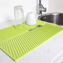 Rechteck Silikon Teller Trocknen Matte Premium Wärme Beständig Geschirr Tisch Matte Geschirr Spülmaschine Tischset Küche Gericht Matte