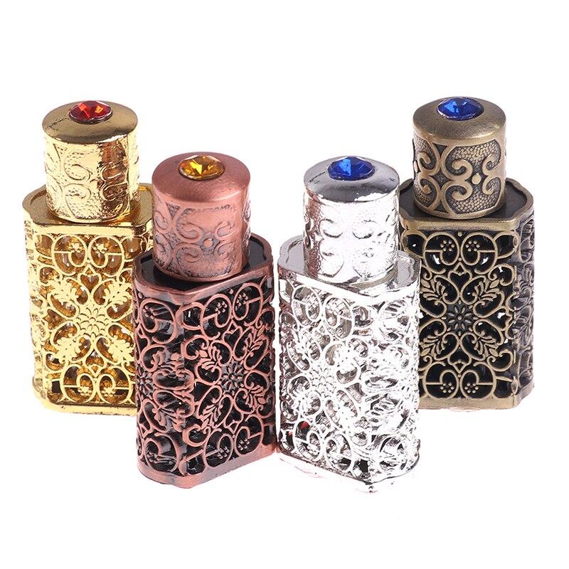 3ml frasco de perfume de metal antigo estilo árabe óleos essenciais garrafa recipiente liga royal garrafa de vidro decoração de casamento presente